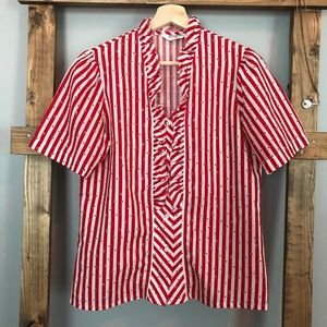 Vintage Jonquil Judy Bond Striped Pinup Blouse